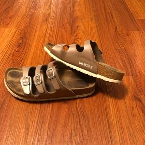 Brown Birkenstock Three strap sandal soft footbed